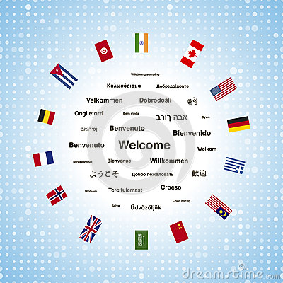 Black welcome phrases in different languages of the world and countries flags Vector Illustration