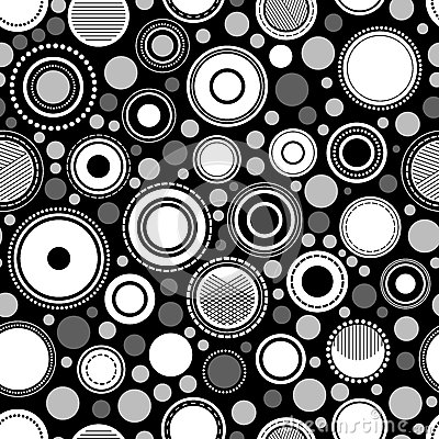 Black and white abstract geometric circles seamless pattern, vector Vector Illustration