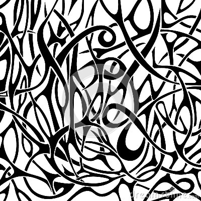 Black and white abstract pattern in tattoo style