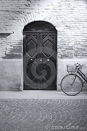 Black and white antique facade and bicycle