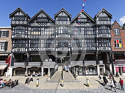 Black-and-White Architecture in Chester Editorial Stock Photo