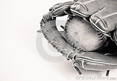 Black and White Baseball and Glove