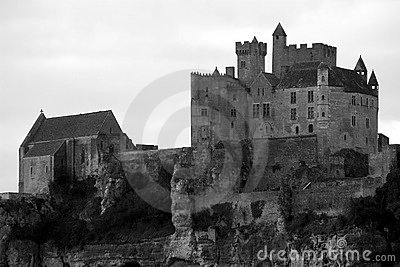 Black and White Beynac Castle in Perigord, France