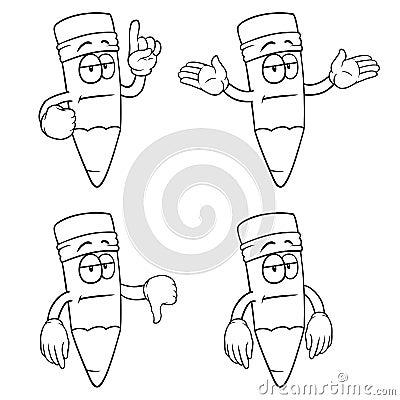 Black and white bored cartoon pencils set