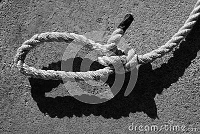 Black and white bowline gauze on marine rope