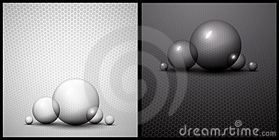 Black and white bubble abstract background