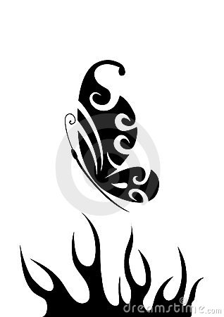 Black and white butterfly over flame