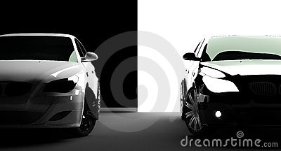 Black and white cars