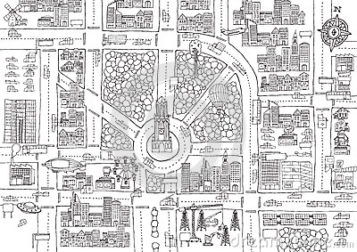 Black And White Cartoon City For Adult Coloring Stock