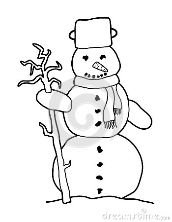 Black and white cartoon snowman