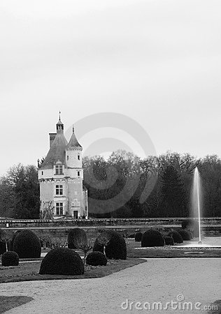 Black and White Chateau de Chenonceau in France