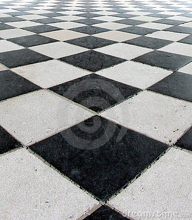 Black and White Checker Floor Tile Pattern