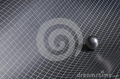 Black, white checkered background with steel ball