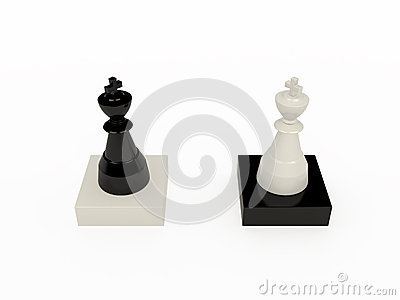 Black and white chess kings