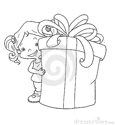 Black and white - child with gift