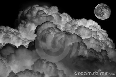 Black and white of clouds and moon