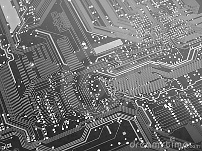Black and White Computer Circuit Board
