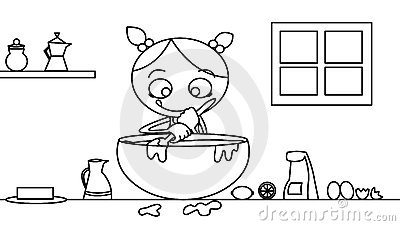 Black and white cooking girl