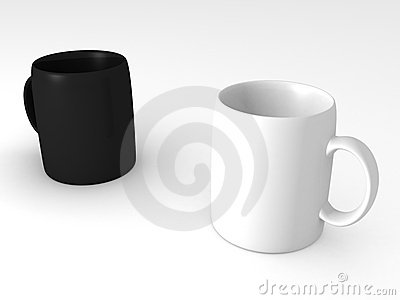 Black and white cups or mugs