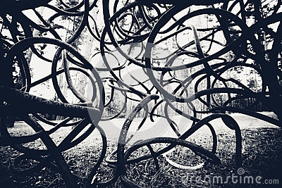 Black and white curved rods background