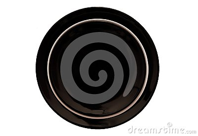 Black and white dinner plates.