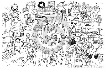 Black and white drawing of busy market cartoon
