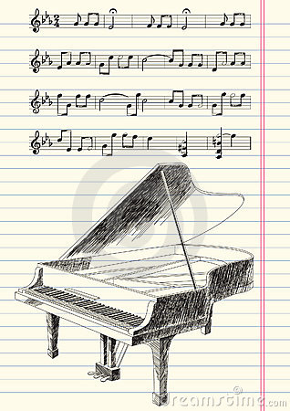 Black and White Drawing of Grand Piano