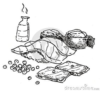 Japanese food hand drawn
