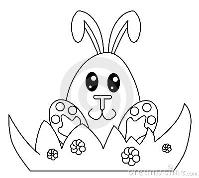 Black and white Easter bunny