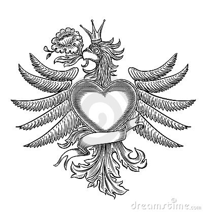 Black and white emblem with the eagle