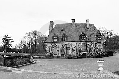 Black and White Estate Chancellerie at Chenonceau