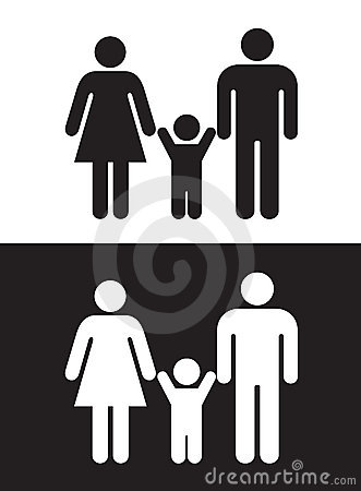 Could be used for a family washroom sign or anything to indicate family. Black And White Family Stock Image   Image  10356881