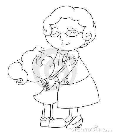 Black and white drawing about a tender hug between the old grandmother ...