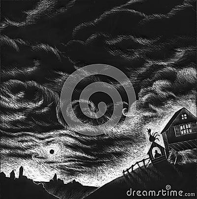 Black and white farm - artwork