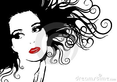 Black and White Female Face Silhouette Outline
