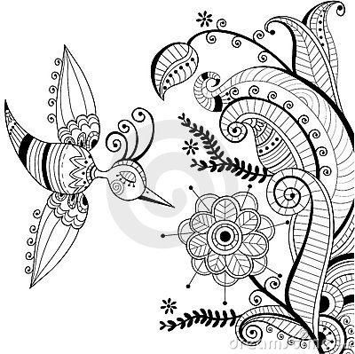 Black and white floral decoration and abstract bir