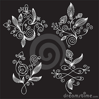 Black-and-white floral  elements