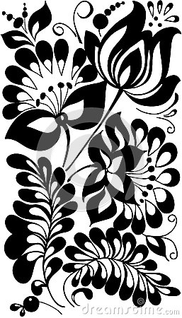 Black and white flowers and leaves. Floral design element