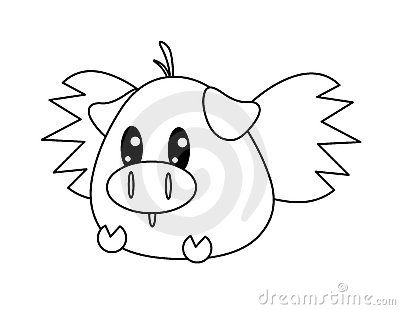 Black and white flying pig