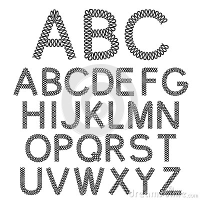 Black and white font alphabet