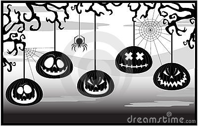 Black-and-white framework with pumpkins