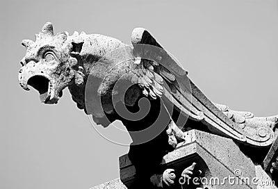 Black and White Gargoyle Statue