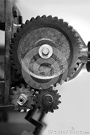 Black and white gear macro as teamwork