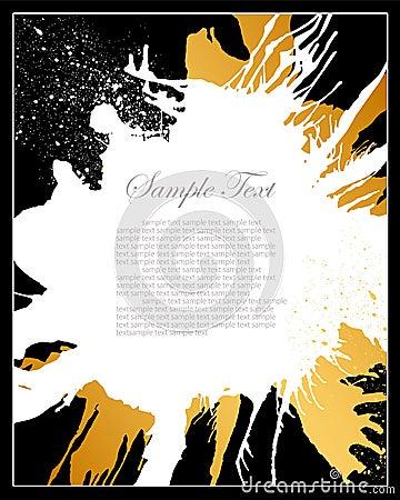 Black, white and gold grunge background