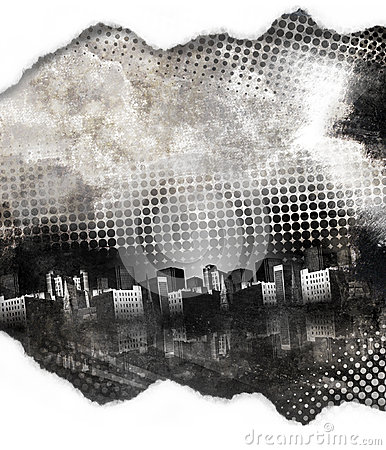Black and White Grunge City Texture