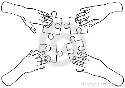 Black and white hands with puzzles teamwork