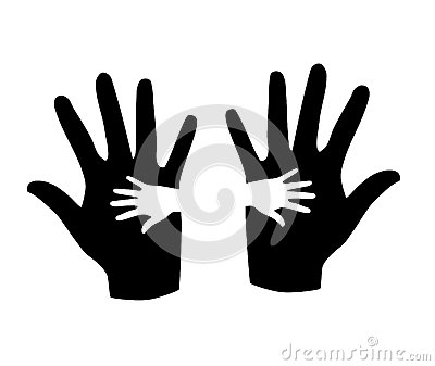 Black and white hands.