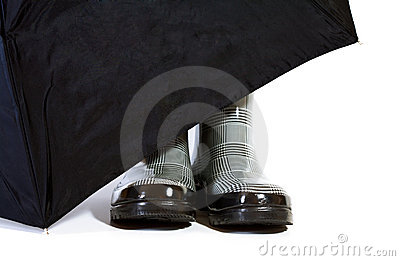 Black and White Herringbone Boots with Umbrella