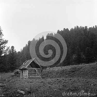 Black And White House In Mountains Stock Photo - Image: 6411970