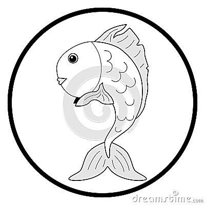 Black and white illustration goldfish